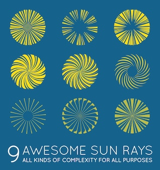 Set van sunburst vector zonnestralen
