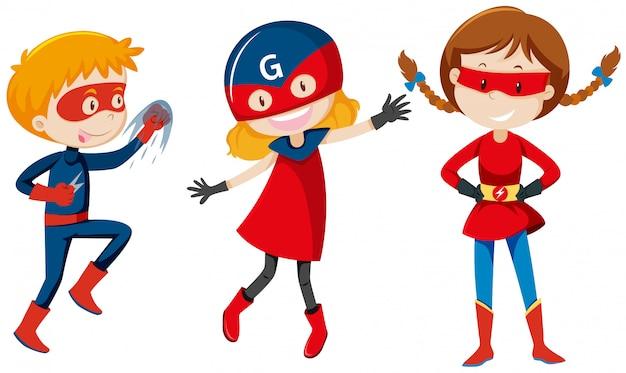 Set van superheld karakter