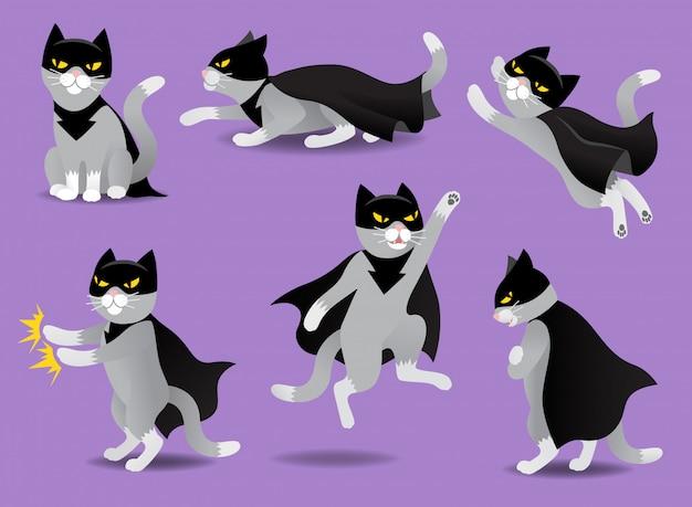 Set van superheld kat in zwart masker en mantel