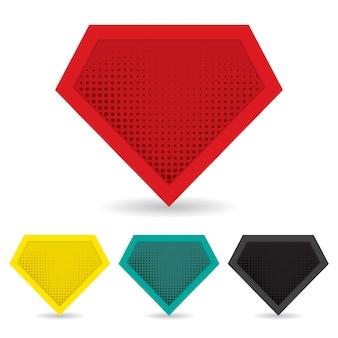 Set van superheld-logo