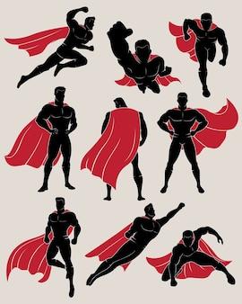 Set van superhero in 9 verschillende houdingen
