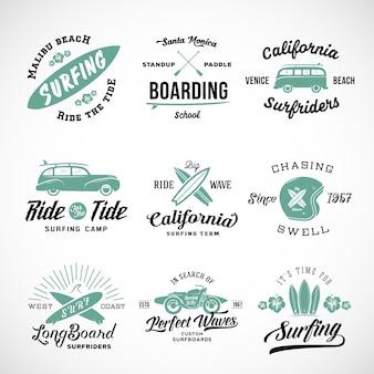 Set van surfen logo's
