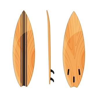 Set van surfplanken positie op wit wordt geïsoleerd.