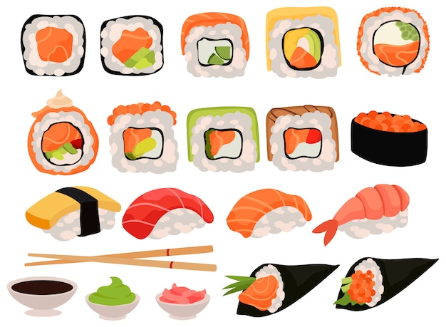 Set van sushi. verzameling van verschillende heerlijke broodjes en apparaten om te eten.
