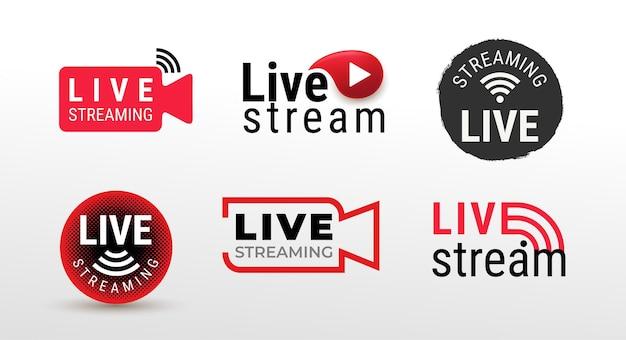 Set van symbool van live streaming, uitzendingen