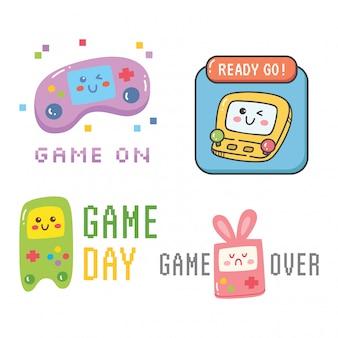 Set van t-shirtontwerp met videogames