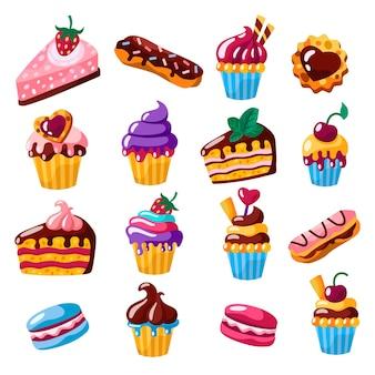 Set van taarten, cupcakes, eclairs, koekjes vlakke afbeelding.