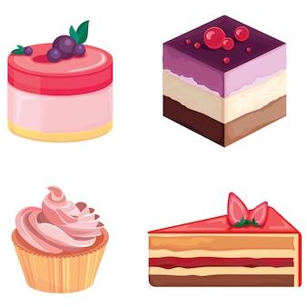 Set van taarten geïsoleerd op een witte achtergrond. mooie gebakjes in cartoon-stijl.