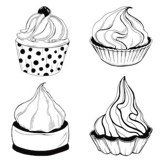 Set van taarten. snoepjes geïsoleerd op een witte achtergrond.