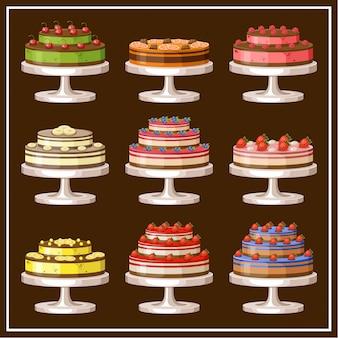 Set van taarten. vectorillustratie