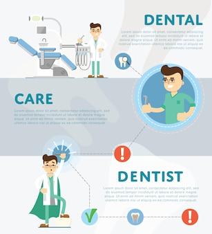 Set van tandheelkundige infographics