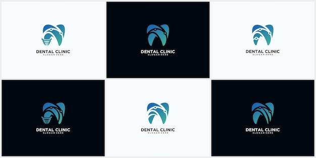 Set van tandheelkundige kliniek logo ontwerpconcept, tandheelkundige implantaat logo, moderne tandheelkundige zorg logo sjabloon