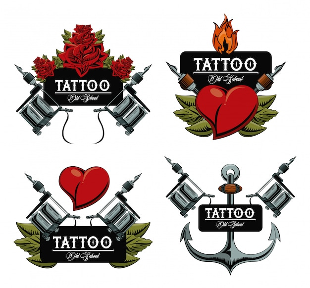 Set van tattoo design emblemen collectie