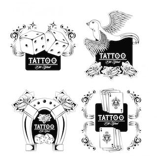 Set van tattoo design emblemen collectie