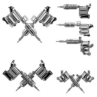 Set van tattoo machine-illustraties.