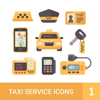 Set van taxi service plat pictogrammen