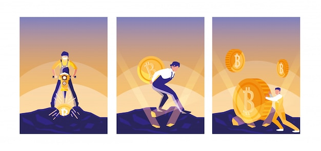 Set van teamwerkers crypto mining bitcoins
