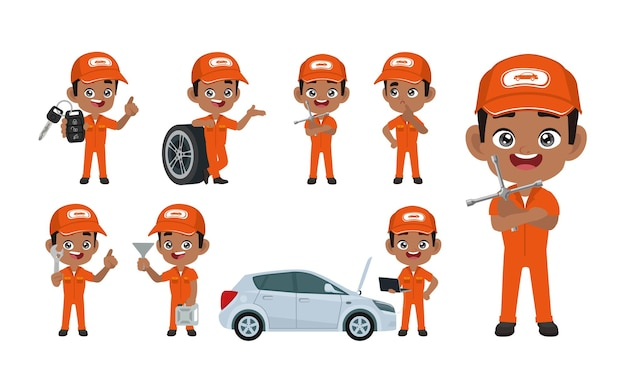 Set van technicus met verschillende poses
