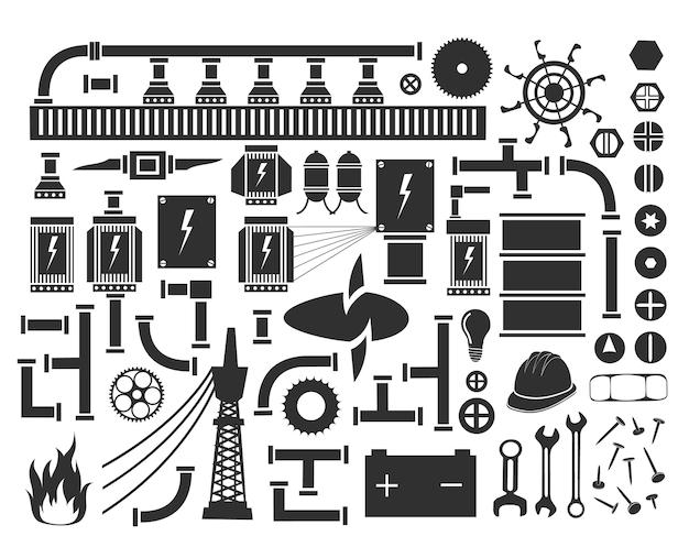 Set van technische objecten en eenheden van assemblages en mechanismen