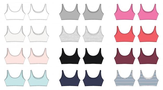 Set van technische schets van beha voor meisjes geïsoleerd. yoga ondergoed ontwerp.