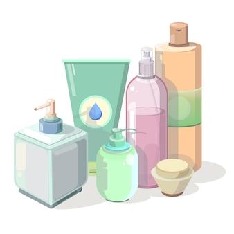 Set van tekenfilms 3d cosmetische plastic fles.