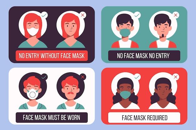 Set van tekens over het dragen van medische maskers