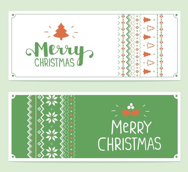 Set van tekst vrolijk kerstfeest en breipatroon