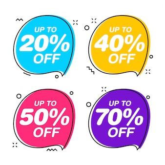 Set van tekstballon verkoop tags. vlakke illustratie van de kortings de rode sticker