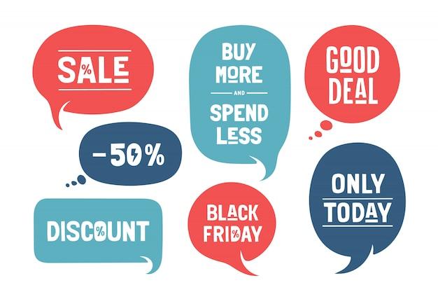 Set van tekstballonnen, cloud talk, verschillende vormen voor sale en discount-thema's