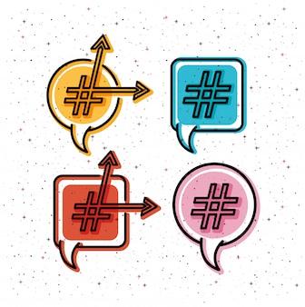 Set van tekstballonnen met trendsymbool en pijlen