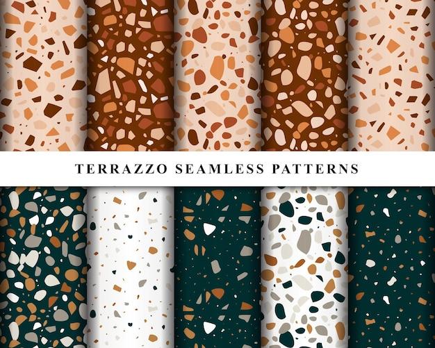 Set van terrazzo naadloze patronen ontwerp