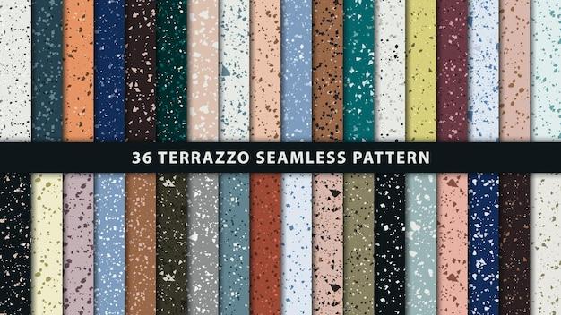 Set van terrazzo stijl naadloze patronen. premium vector