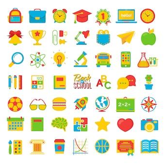 Set van terug naar school en onderwijs colot platte pictogrammen schoolbenodigdheden