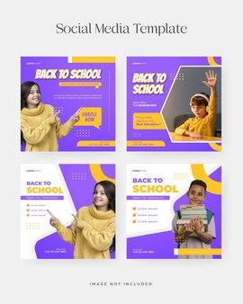 Set van terug naar school social media-sjabloon