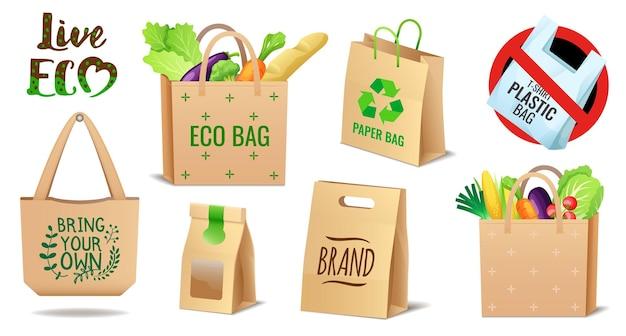 Set van textiellinnen en papieren eco-tassen stellen geen probleem met vervuiling van plastic verpakkingen in