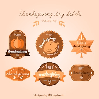 Set van thanksgiving day vintage stickers