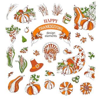 Set van thanksgiving ontwerpelementen.