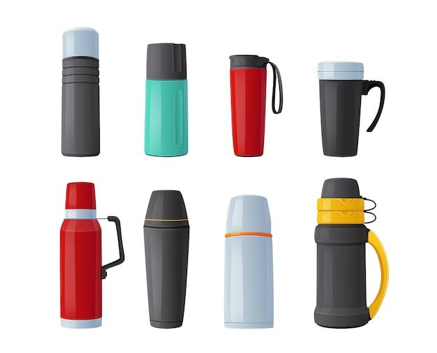 Set van thermoskan, thermoskan, bekers, mokken of flessen voor drank warm houden