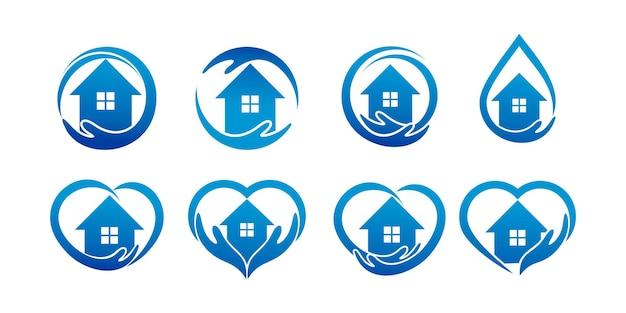Set van thuiszorg met een combinatie van een hand en een huis. logo sjabloon voor bedrijf premium vector