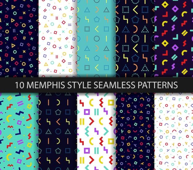 Set van tien geometrische texturen. memphis naadloze patroon.