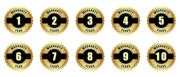 Set van tien jaar garantie badge goud metallic sticker logo