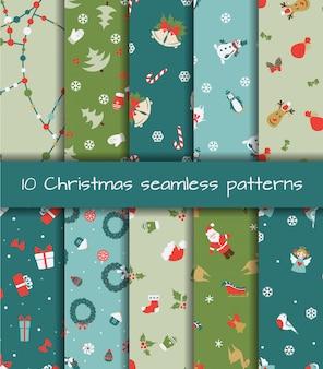 Set van tien kerst naadloze patronen
