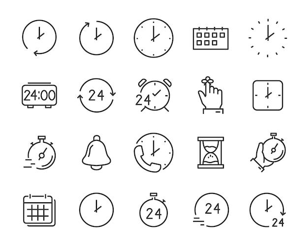 Set van tijdpictogrammen, kalender, klok, herinnering, uur, datum