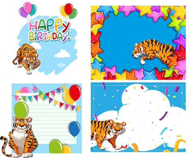 Set van tijger achtergronden