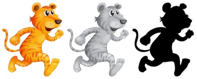 Set van tijger hardlopen