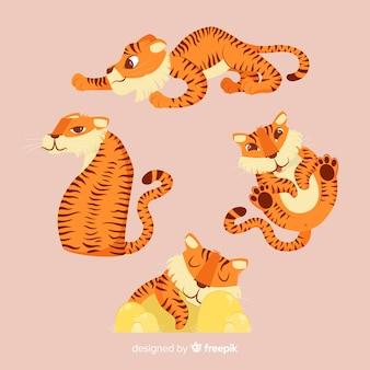 Set van tijgers in cartoon-stijl in verschillende posities