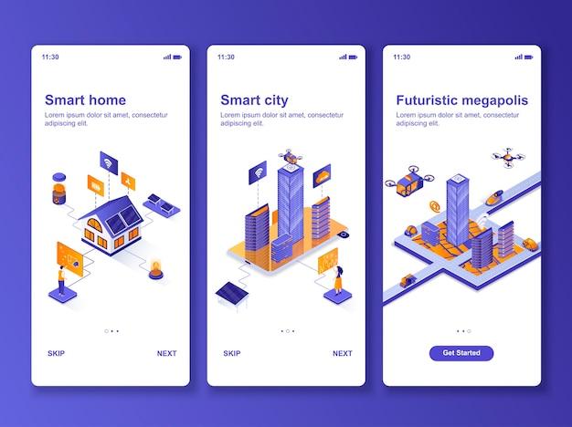 Set van toepassingen slimme huis isometrisch