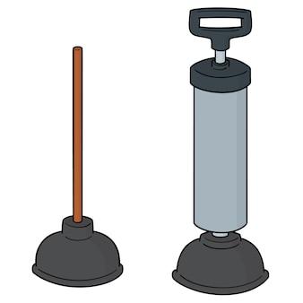 Set van toiletrubber pomp