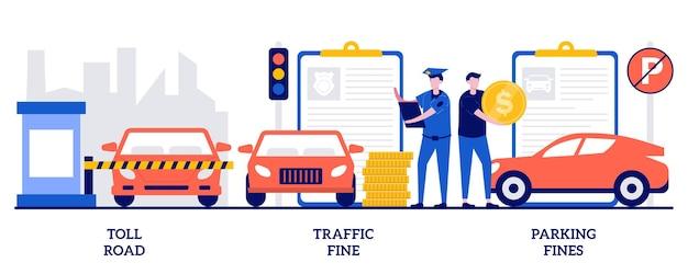 Set van tolweg, verkeers- en parkeerboete, overtreding van de rijregels, tolgeld