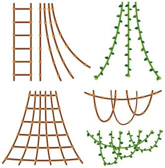 Set van touw en wijnstokken